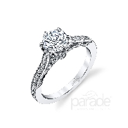 18KW engagement ring by Parade Design set with: - 0.75 ct CZ centre - 26 round brilliant cut diamonds; 0.14 cttw; G/H; SI
