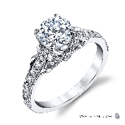 18KW engagement ring by Parade Designs set with: - 0.75 ct CZ centre  - 30 round brilliant cut diamonds; 0.34cttw; G/H; SI