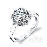 18 KW engagement ring by Parade Design set with: - 0.75 ct CZ centre - 16 round brilliant cut diamonds 0.18cttw; G/H; SI