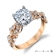 18KYW engagement ring by Parade Design set with: - 0.75ct CZ - 28 round brilliant cut diamonds; 0.18 cttw; G/H; SI