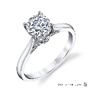 18KW engagement ring by Parade Designs set with: - 0.75 ct CZ - 14 round brilliant cut diamond 0.06 cttw; G/H; SI