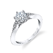 18KW diamond engagement ring by Parade Design set with: - 0.75ct CZ - 6 round brilliant cut diamonds; 0.05cttw; G/H; VS-SI