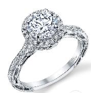 18K white gold diamond engagement ring 0.75ct CZ 60=0.34cttw G/H VS-SI accent diamonds