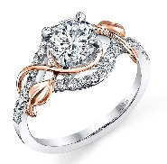 18K white and rose gold diamond engagement ring 1ct CZ 28=0.25cttw G/H VS-SI accent diamonds