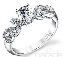 18K white gold diamond engagement ring 0.50ct CZ 6=0.11cttw accent diamonds G/H VS-SI
