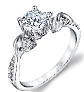 18K white gold diamond engagement ring 1ct CZ 2=0.07cttw G/H VS-SI 12=0.09ctta G/H VS-SI