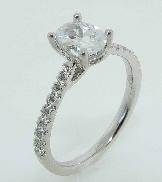 18K white gold diamond engagement ring 1ct CZ Oval center 28=0.22cttw G/H VS-SI diamonds