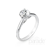 18KW Parade engagement ring set with: - 1.0 ct CZ  - 20 round brilliant cut diamonds; 0.18cttw; G/H; VS-SI