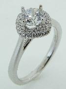 18K white gold diamond engagement ring 0.75ct CZ Center 40=0.143cttw G/H VS-SI diamonds