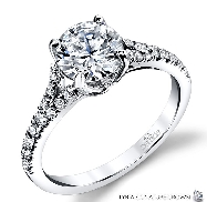 18K white gold diamond engagement ring 1ct CZ Center 22=0.26cttw G/H VS-SI diamonds