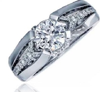 14K white gold engagement ring set with 1.00ct CZ 40 side diamonds totalling 0.27 carats