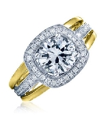 14 karat white and yellow gold by Frederic Sage set with: - 1 carat CZ - 44 - 0.27 cttw diamonds