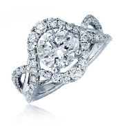 14K white gold engagement ring  0.75ct CZ 72 side diamonds totalling 0.40 carats