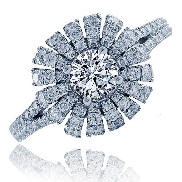 14 karat white gold diamond engagement ring by Frederic Sage set with: - 0.50 carat CZ  - 88 - 0.69 cttw diamonds