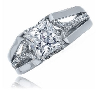 14K white engagement ring set with: 0.75ct CZ 42 accent diamonds totalling 0.28 carats