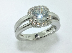 14 karat white gold diamond engagement ring by Frederic Sage set with: - 1.0 carat CZ - 14 - 0.26 cttw diamonds