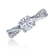 14 karat white gold diamond engagement ring by Frederic Sage set with: - 1 ct CZ  - 14 - 0.10 cttw diamonds