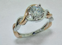 14K white and rose gold engagement ring by Frederic Sage set with:  - 0.75ct CZ center