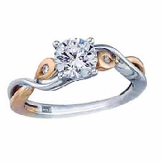 14 karat white and rose gold diamond engagement ring by Frederic Sage set with: - 0.50 ct CZ  - 2 - 0.03 cttw diamonds