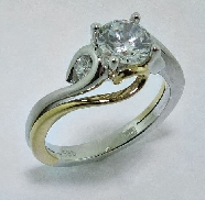 14K white and yellow gold diamond engagement ring by Frederic Sage set with:  - 0.75ct Cz center - 2-0.11cttw
