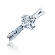 14K white gold diamond engagement ring by Frederic Sage set with:   - 0.75ct CZ center