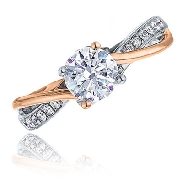 14 Karat white gold diamond engagement ring by Frederic Sage set with: - 0.50 carat CZ - 14*=0.11 cttw diamonds