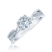 14KW diamond engagement ring by Frederic Sage set with: - 0.75ct CZ  - 24 RBC diamonds; 0.09cttw; G/H; VS-SI