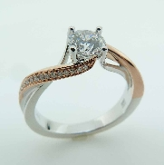 14KWR diamond engagement ring by Frederic Sage set with: - 0.50ct CZ - 32 RBC diamond; 0.11cttw; G/H; VS-SI