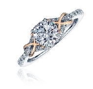 14K white and rose gold ring by Frederic sage 0.75ct CZ center 36*=0.27cttw