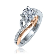 14K white/rose gold ring by Frederic Sage: - 0.75ct CZ center - 34*=0.27cttw