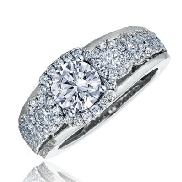 14KW engagement ring by Frederic Sage set with: - 0.75ct CZ  - 82 RBC diamonds; 0.54cttw  - 4 RBC diamonds; 0.10cttw - 2 RBC diamonds; 0.017cttw