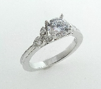 14K white gold marquise prongs and pear shape accented with milgrain shank. Accented with 2*= 0.18ctw and 4 marquise = 0.13ctw.
