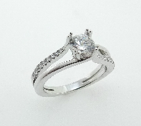 14K white gold double prongs split shank diagonal graduating microset diamonds/ polished shank; set with0.75ct CZ. Accneted with 20*= 0.13ctw