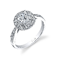18K White gold engagement ring known as;   Modern Halo Round Diamond engagement ring  ; by Sylvie Collection Set with  -center 0.75ct round Cubic Zirconia  -accented with round brilliant cut diamonds; 0.32 carat total weight; G+; SI/VS.