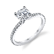 18K white gold engagement ring knonw as; Classic Solitaire Diamond Engagement Ring by Sylvie Collection set with -Center:  0.5ct CZ -sides: 0.21cttw SI-VS G+