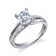18K White gold engagement ring known as; by Sylvie Collection Set with  -center 0.50ct round Cubic Zirconia  -accented with round brilliant cut diamonds; 0.23 carat total weight; G+; SI/VS.
