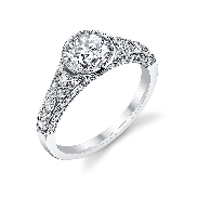 18K white gold Vintage Bezel Diamond Engagement Ring  by Sylvie Collection set with -Center:  1.00CZ -Sides:  0.54ct SI-VS G+