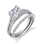 18K White gold engagement ring known as;   Classic Split Shank Princess Diamond Engagement Ring  ; by Sylvie Collection Set with  -center 0.50ct princess cut Cubic Zirconia  -accented with round brilliant cut diamonds; 0.46 carat total weight; G+; S