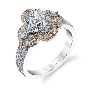 18K white and rose gold engagement ring by Sylvie Collection S1193S-49A8K10R Set with -Center: 1.00ct CZ -sides:  0.49cttw SI-VS G+