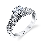18K white gold engagement ring by Sylvie Collection set with: -center:  0.75ct CZ -sides:  0.63ct round brilliant cut diamonds SI-VS G+