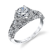 18K white gold Vintage Round Brilliant Diamond Engagement Ring by Sylvie Collection set with  -center: .50ct CZ -sides: 0.64carats round brilliant cut diamonds SI-VS G+