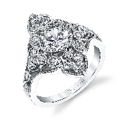 18K white gold engagement ring by Sylvie Collection set with  -center:  .75ct CZ -sides: 0.64ct SI-VS G+