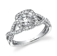 18K white gold engagement ring known as; Vintage Crisscross Halo Diamond Engagement Ring by Sylvie Collection set with -center:  0.50ct CZ -sides: 0.43carats round brilliant cut diamonds SI-VS G+