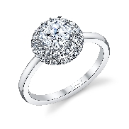 18K white gold engagement ring known as Classic Double Halo Diamond Engagement Ring by Sylvie Collection. Set with -Centre CZ .50carat round -side diamonds 0.30carats SI-VS G+