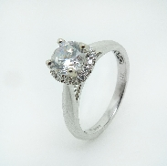 14 karat white gold Sylvie engagement ring set with: - 0.75 carat CZ - 0.13 cttw diamonds