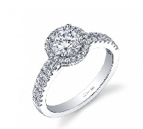 14K white gold engagement ring by sylvie set with:  - 0.75ct cubic center - 28 = 0.36cttw