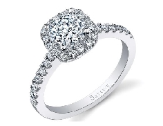 14K white gold engagement ring by Sylvie   SY99936A4W05RCH   set with 0.50ct CZ center and 30*=0.36cttw diamonds