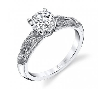 14KW Sylvie Engagement ring (style S1392) with 0.50ct CZ and 0.12cttw diamonds; G/H; VS-SI.