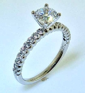 14KW Sylvie Collection engagement ring set with: - 0.75ct CZ - 0.30cttw RBC diamonds; G/H; VS-SI