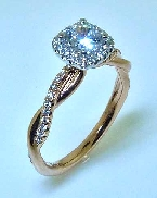 14KW engagement ring by Sylvie Collection set with: - 0.50ct CZ - 0.23cttw RBC diamonds; G/H; VS-SI